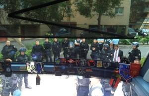 РОсійські футбольні фани заблоковані в автобусі