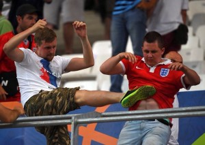 Russia fans clash in stadium after match