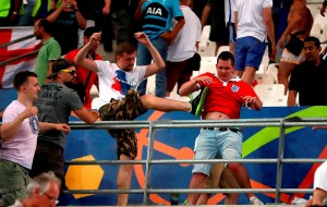 Tempers flare between Russia and England fans during the UEFA Euro 2016, Group B match at the Stade Velodrome, Marseille. PRESS ASSOCIATION Photo. Picture date: Saturday June 11, 2016. See PA story SOCCER England. Photo credit should read: Nick Potts/PA Wire. RESTRICTIONS: Use subject to restrictions. Editorial use only. Book and magazine sales permitted providing not solely devoted to any one team/player/match. No commercial use. Call +44 (0)1158 447447 for further information.