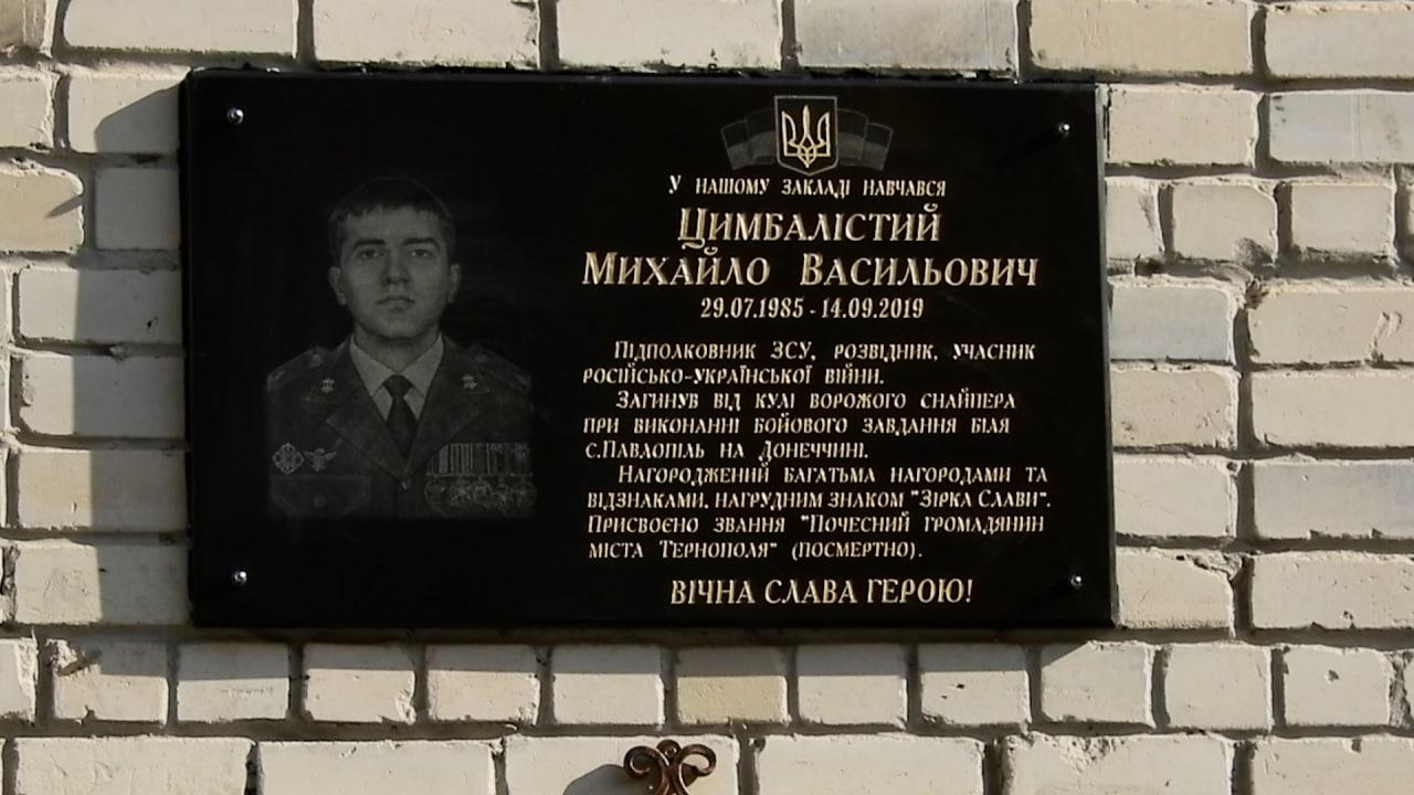 Меморіальна дошка Михайлу Цимбалістому